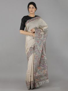 Brown Hand Painted Madhubani Tussar Silk Saree