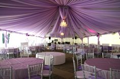 Purple, White wedding reception area