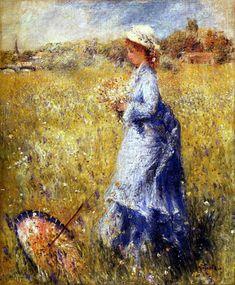 Pierre-Auguste Renoir ~ Girl Gathering Flowers, 1872 || Вдохновенный синий: гармония цвета в картинах художников прошлого и современности - Ярмарка Мастеров - ручная работа, handmade