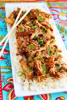 Asian-inspired Crock Pot Honey Sesame Chicken  with rice