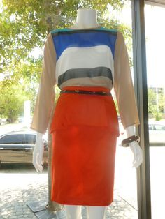 Pleated peplum skirt in red with sheer striped top!