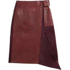 3.1 Phillip Lim Leather & Twill A-Line Skirt (3.610 RON) ❤ liked on Polyvore featuring skirts, leather, burgundy, red pleated skirt, burgundy leather skirt, red skirt, a-line skirt and pleated skirts