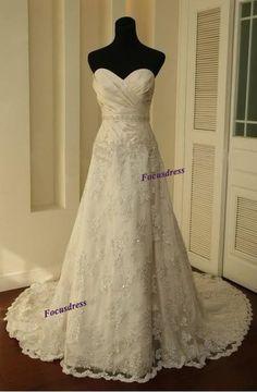 Long a-line wedding dresses, lace wedding dresses, sweetheart wedding dresses, gorgeous wedding dresses, cheap wedding dresses,PD190183