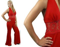 1970s jumpsuit red halter jumpsuit disco outfit by vintagerunway, $99.00