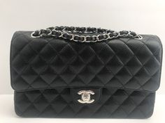 NWT AUTHENTIC 2017 CHANEL BLACK WITH SILVER HARDWARE MEDIUM CAVIAR FLAP BAG $4199.99