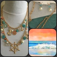 """""""New"""" Nautical Necklace & Earrings Set Pretty gold plated double strand nautical necklace with matching earrings. Colors in teal turquoise, coral, white pearls, rhinestones, beads. Adjustable chain length approximately 2 1/2"""", lobster clasp. Cute charms of sail boats, anchors, helm, beads, pearls, faux turquoise. Boutique Jewelry Necklaces"""