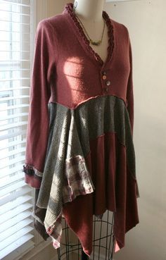 Quite cute up-cycled clothing and fabric–this woman has a good eye for it | Breathe Again Cashmere Lagenlook Recycled by BreatheAgainClothing