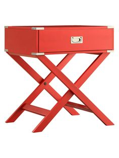 Cooper Campaign Accent Table by Topline in Red