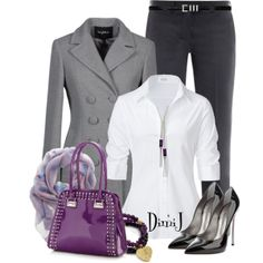 """""""Office Look"""" the difference is the purple hand bag.If you dare!!"""