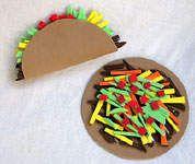 mexico crafts for kids, preschool cinco de mayo crafts, taco, tostada, cinco de mayo preschool crafts