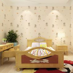 Kid 's wallpaper boy bedroom nonwoven fabric material health  protection cartoon deformation of King Kong Pattern murals