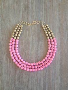 Summer Pink and Gold Statement Necklace by icravejewels on Etsy, $58.00