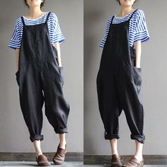Linen overalls overalls feet Harlan stylish black by qinbailiang Look Fashion, Korean Fashion, Womens Fashion, Surfergirl Style, Couture Mode, Mode Outfits, Stylish Outfits, Mode Inspiration, Get Dressed