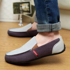 Trendy Color Block and Canvas Design Casual Shoes For Men