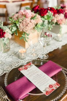 Menu Card with Burgundy Napkin and Beaded Charger