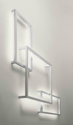 AXO LIGHT Framework Fluorescent aluminium wall lamp , design by Manuel Vivian
