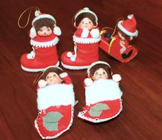Vintage Monkey Mon Chi Chi Christmas Ornaments Felt Made in Japan Set of Five Kitsch 1950s 1960s at Chelsea Morning https://www.etsy.com/listing/212391712/vintage-monkey-mon-chi-chi-christmas