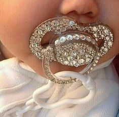Binky with bling! Baby girl fashion with a bit of sparkle. Baby Bling, Bling Bling, Camo Baby, Baby Girl Fashion, Kids Fashion, Everything Baby, Baby Needs, Baby Time, Cute Baby Clothes