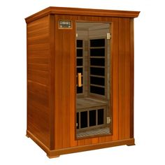 Crystal Sauna 2-Person Cedar Infrared Sauna with Eight Carbon Heaters and Color Therapy Lights - FWC200