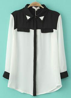 White Contrast Black Shoulder Long Sleeve Blouse - Sheinside.com