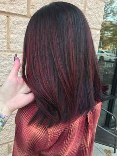 Red Balayage Hair Burgundy, Grey Balayage, Red Highlights In Brown Hair, Red Brown Hair, Hair Color Balayage, Ombre Hair, Dark Brown, Black And Burgundy Hair, Dark Hair With Red