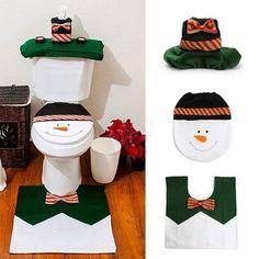 Christmas Toilet Seat Cover and Rug Bathroom Set