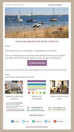 Message post séjour Ile de Ré Tourisme (dossier Open Résa)