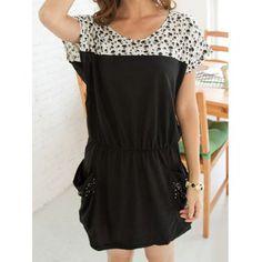 Cucharada casual de cuello corto cráneo mangas de impresión vestido de bolsillo para las mujeres para Vender - La Tienda En Online IGOGO.ES