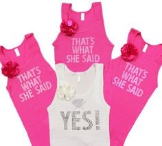 Set of 4 Engagment Party Tank Tops  That's what she by ABridalShop