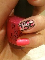 Leopard print ring finger nail design.