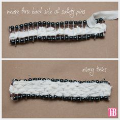 DIY Safety Pin Bracelet with Brooch Weaving