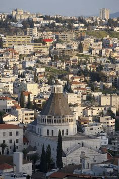Nazareth, Israel With The Church Of The Annunciation In The Foreground Israel Palestine, Nazareth Israel, Palestine People, Palestine History, Places Around The World, Around The Worlds, Naher Osten, Israel Travel, Promised Land