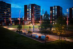Masmo Solhagaparken by LAND arkitektur « Landscape Architecture Platform Park Lighting, Outdoor Lighting, Public Square, Shattered Glass, Contemporary Landscape, Raised Garden Beds, Stairways, Landscape Architecture, Stockholm