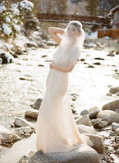 Blush pink ethereal bridal session via Wedding Sparrow blog