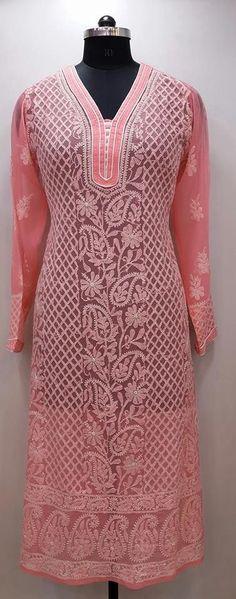 Lucknowi Chikankari Online Kurti Peach Faux Georgette $45