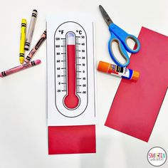 Thermometer craft, Cloud and Weather Activities for Kindergarten First Grade Second Grade