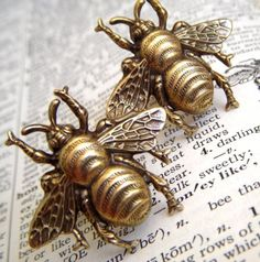 Brass Bee Cufflinks.  Miniature Victorian bees have incredible detail, you can even see the little lines in their wings. A must have for the men in our lives. Bees.