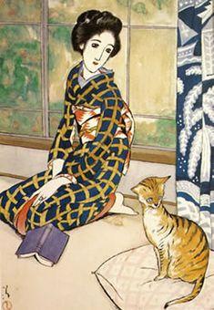 Okayama|岡山|Yumeji Art Museum|夢二郷土美術館|竹久夢二|晩春 Banshun    大正15年(1927)/紙・ペン、水彩    手足をそろえて行儀よく座り、首を傾けて画面右側へと  視線を向ける女性と猫は、同じポーズをとっています。  二人の相似になった姿の繰り返しが、この絵の印象を強くしています。  女性の表情がやわらかいのに対し、猫は耳をピンと立て全身を緊張させており、  見る人の興味を視線の先へと誘導していきます。  ガラス窓にカーテン、洋風の猫と、着物姿で指輪を付けた女性、  和と洋が混じり合った夢二の暮らしの一コマです。
