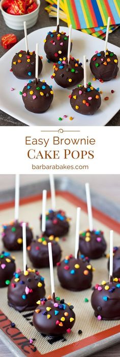 Easy Brownie Cake Pops perfect for any party. Start with a brownie mix, then dip… Easy Brownie Cake Pops perfect for any party. Start with a brownie mix, then dipped in chocolate and sprinkles, making them pretty much irresistible. Brownie Cake Pops, Chocolate Cake Pops, Chocolate Cookie Recipes, Chocolate Chip Cookie Dough, Cookie Dough Cake Pops, Chocolate Chips, Chocolate Sprinkles, No Bake Cake Pops, Dessert Chocolate
