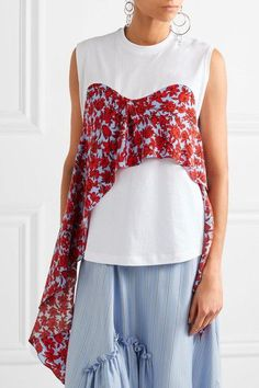MSGM - Printed Crepe-trimmed Cotton-jersey Top - White - small