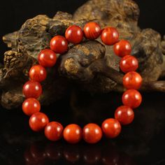 Beautiful Color Chinese Nan Hong Agate Beads Bracelet
