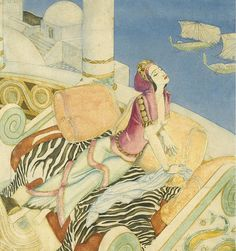 Illustration by EDMUND DULAC |From series *Follies that Destroyed Famous Queens'* (cover of the periodical *American Weekly*)