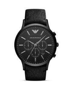 Emporio Armani Black Leather Watch, 46mm | Bloomingdales's