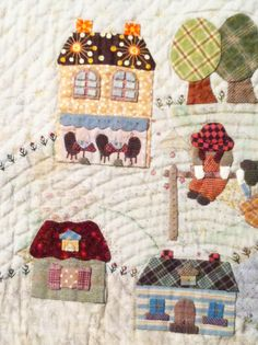 """""""Country Village"""" by Fumiko Fujiwara for The Quilt Festival Exhibit of Japanese quilts inspired by the work of Reiko Kato. Close up 4/5"""