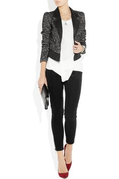 BIRD BY JUICY COUTURE  Leather-trimmed tweed biker jacket