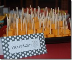 Food Idea: Pirate Gold...put pretzel rods instead of toothpicks.  Also, other food ideas...celery and peanut butter boats.
