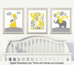 Gelb und grau, Giraffe und Elefant Kinderzimmer, du bist mein Sonnenschein, Zimmer Kinderzimmer jungen und Mädchen Wandkunst, Satz von 3, 8 x 10, sofortigen download
