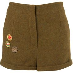 Brownie Shorts By Unique** ($70) ❤ liked on Polyvore featuring shorts, bottoms, pants, short, women, short khaki shorts, khaki shorts, short shorts and wool shorts