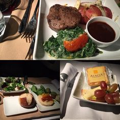 @AmericanAir #BusinessClass #Dinner #food #travel #international #LAX #London #reviewsbycouple Mixed Greens Coffee crusted Beef Filet with sautéed spinach and cheese plate. Domaine de la Presidente from Côte du Rhone Villages-Cairanne France - Grenache and Syrah