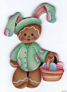 GINGERBREAD Bunny - Designed and handpainted by Pamela House